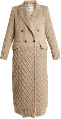 MAX MARA Alda coat, woven bodice with cable knit coat bottom and sleeves Beige Coat, Camel Coat, Business Wear, Knitwear Fashion, Max Mara, Cream White, Wool, Cashmere, Womens Fashion