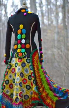 Sweater Coat with pom poms crochet squares and by amberstudios, $580.00