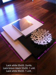 Modern coffee table made of 4 Ikea Lack table tops