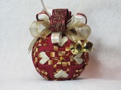 Quilted Christmas Ornament no sew burgundy by KCFabricOrnaments, $15.00