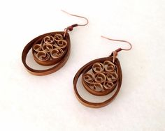 Quilled earrings in light brown and tan by aCreativeTypeOfGirl