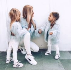 Pastel Blue Mini Me Jacket by Unreal Fur Mama Baby, My Baby Girl, Mom And Baby, Mommy And Me Outfits, Family Outfits, Cute Outfits For Kids, Girl Outfits, Mother Daughter Fashion, Mom Daughter