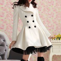 Highlight with ruffle hem and double breast, this long coat is fashion and warm. Size: S, M, L, XL, XXL Color: Black, White, Red Type: Wool & Blends, Skirt Material: Cotton, Woolen Clothing Length: Lo