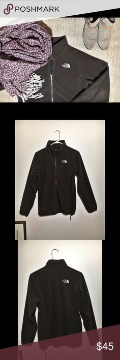 The North Face Fleece Full-Zip Sweater -The North Face Full-Zip Fleece Sweater   - Traditional brown fleece with two hand pockets and collar.   - Size L   - Gently Used The North Face Tops Sweatshirts & Hoodies