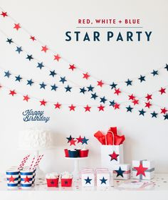 Red White and Blue Party by @tomkatstudio | 4th of July Party Ideas