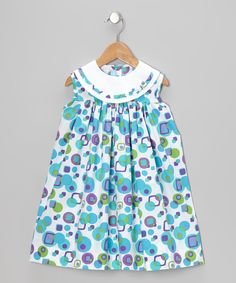 This Monday's Child White & Turquoise Square & Dot Float Dress - Infant & Toddler by Monday's Child is perfect! #zulilyfinds