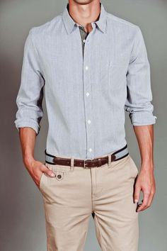 It is all in details, nice finishing of this grey, cotton slim fit shirt + beige chinos - good style