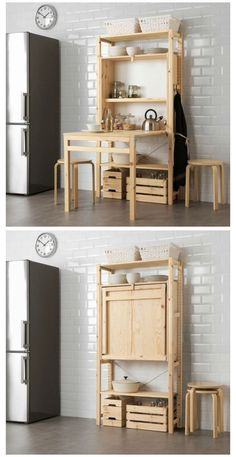 diy furniture small spaces IKEA launches space-saving shelving unit with foldable table # Furniture drawing IKEA launches space-saving shelving unit with foldable table Kitchen Furniture, Home Furniture, Furniture Design, Furniture Ideas, Furniture Storage, Barbie Furniture, Garden Furniture, Outdoor Furniture, Bedroom Storage