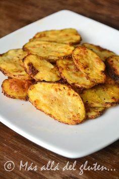 """Más allá del gluten...: Papas """"Fritas"""" al Horno (Receta GFCFSF, Vegana)"""