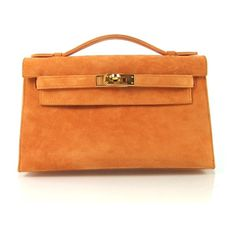 HERMES Suede Mini KELLY Clutch Tangerine Orange ❤ liked on Polyvore featuring bags, handbags, clutches, clasp purse, hermes purse, party clutches, strap purse and hermes handbags