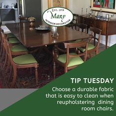 Did you know that upholstery fabric is thicker than normal fabrics as it is designed to withstand wear and friction incurred during use? This week we look at dining room chairs: For dining room chairs the fabric must be able to withstand a lot of use and the occasional spill. A synthetic fabric designed to resist liquids and staining is a good choice. Call 011 268 0329 / e-mail nikos@marysinteriors.co.za. #marysinteriors #curtains #fabric #upholstery #interiordesign #furniture #reupholstery Dining Room Chairs, Dining Table, Furniture Reupholstery, Interior Decorating, Interior Design, Soft Furnishings, Showroom, Fabric Design