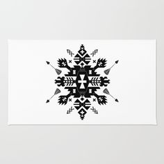 Tribal Black and White Rug by SEAFOAM12. Worldwide shipping available at Society6.com. Just one of millions of high quality products available.