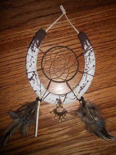 Handmade horse shoe dream catcher. - Horseshoe, lucky, painted, western, cowgirl. :)  https://www.etsy.com/listing/162222507/handmade-real-horseshoe-painted-and?ref=related-5