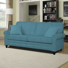The Portfolio Home Furnishings Bradley SoFast sofa features a rolled, welted arm, a sophisticated split front rail and can be assembled with ease. The ultra comfortable Bradley sofa is covered in a durable Caribbean blue linen-like fabric.