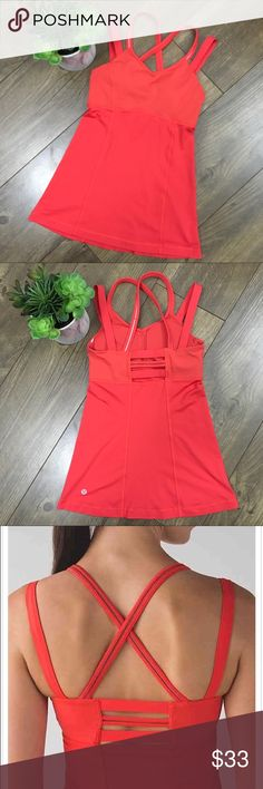 Lululemon Happy Strappy Tank Size 4 Red/ Orange EUC Adorable Lululemon workout top with build it bra. Strappy design and great support. Available in size 4 (B/C cup) lululemon athletica Tops Tank Tops