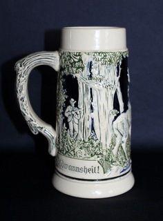 Vintage GERMAN Beer Stein - Wild Forrest Hunting Theme #BEERSTEIN