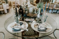 Dusty Blue Napkins, Silver Chargers, Lace, Brown Grafter, Candlestick Holders, Milk Jars  P.C. Misty Mclendon Candlestick Holders, Candlesticks, Milk Jars, Twinkle Lights, Dusty Blue, Wedding Venues, Napkins, Country, Brown