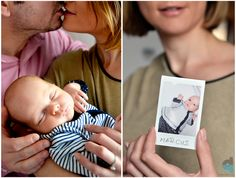 a nice collage from the newborn photo session , with Marcus , mom and dad