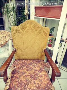 cómo-tapizar-butaca-rústica Accent Chairs, Armchair, Diy, Crafts, Furniture, Home Decor, Ideas Para, Chair Upholstery, Wooden Crafts