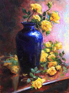 Persian Cobalt - Yellow Roses In Cobalt Vase Art Print by Talya Johnson