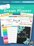 This is a digital downloadable product Get planning with this dream planner designed with teachers in mind. This planner comes with everything a teacher needs to plan out a successful school year.The Teachers Dream Planner is editable and customizable, so that you can create a plan book that meets all of your planning needs. Here is what is included:Monthly Calendars June 2017 to December 2016Changing CentersNote PagesThemes at a GlanceBehavior PlannerClassroom EventsClass MapCommunication…