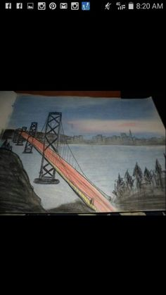 Charcoal drawing of the Golden Gate Bridge
