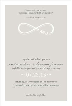 Science math pop culture nerdy wedding invitations infinite easily customize this infinity monogram champagne wedding invitation design using the online editor all of our wedding invitations design templates are stopboris Image collections