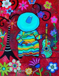 Folk Art Sleeping Mariachi Guitar Player Sombrero Mexican Painting by Prisarts, Florals, Flowers, wall art ,Mexican Restaurant Art, Curator, Pristine Cartera Turkus, Tree of Life, Guitar, Gitara, Guitarra, Blooms