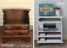 I would so do this!  upcycled bedside table, painted furniture