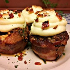 Bacon Wrapped Meatloaf Cupcakes with Mashed Potato Topping