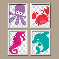Kids Bathroom Wall Art ocean sea animals bathroom wall art - canvas or prints child
