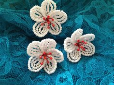 FREE SHIPPING  Apple Blossom French Beaded by FloralUniqueDesign