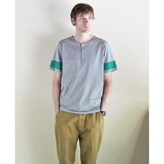 "LA PAZ - HENLEY NECK TEE ""RIBAS""(GREY & GREEN) /ラパス・ストライプT"
