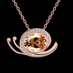 N134 - B Zircon Necklace Fashion Jewelry Rose Gold Plating Necklace #CLICK! #clothing, #shoes, #jewelry, #women, #men, #hats, #watches