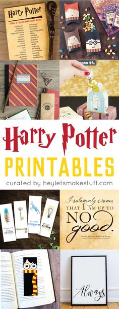 Magical Harry Potter Printables | Games, Party, Decor, Wall Art, Bookmarks, Kids Printable