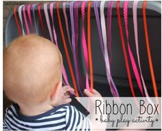 EI Activity: Ribbon Box – Baby Play Activity-pinned by @PediaStaff – Please Visit ht.ly/63sNtfor all our pediatric therapy pins