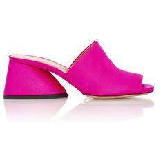 Dries Van Noten Sloped-Heel Mule Sandals ($589) ❤ liked on Polyvore featuring shoes, sandals, mule shoes, fuchsia shoes, miu miu shoes, fuschia shoes and fuchsia sandals