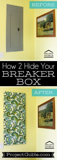 Electrical Breaker Box Cover - How to create a Fabric Wall Art to cover your UGLY BREAKER BOX - Step by step directions at ProjectGoble.com