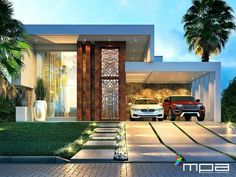 Projeto residencial por Masterplan Arquitetura - Architecture and Home Decor - Bedroom - Bathroom - Kitchen And Living Room Interior Design Decorating Ideas - Home Architecture Styles, Architecture Design, House Front Design, Modern House Design, Modern Exterior, Exterior Design, House Elevation, Front Elevation, House Entrance