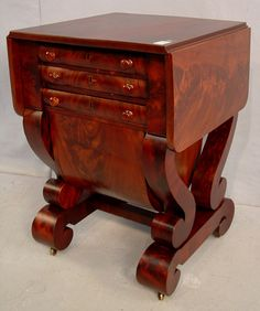 3 Drawer Period Empire Mahogany Possum Belly Sewing Stand, ca. 1840