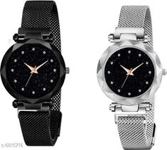 Watches HRV Luxury Mesh Magnet Buckle Starry sky Quartz Watches For girls Fashion Mysterious black&Silver Lady New Fashion Analog Watch Strap Material: Metal Display Type: Analogue Size: Free Size Multipack: 2 Country of Origin: India Sizes Available: Free Size   Catalog Rating: ★4 (462)  Catalog Name: Classic Women Watches CatalogID_1087798 C72-SC1087 Code: 343-6815716-708