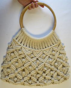 Macrame Purse with Round Wood Handles / by RiverCityRemains