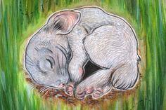 Sleeping Bunny A4 ORIGINAL ILLUSTRATION by NataliaBennettArts