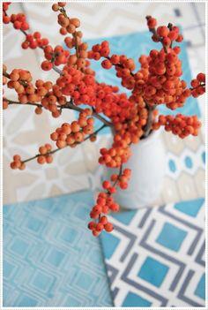 Blues, creams n orange berries