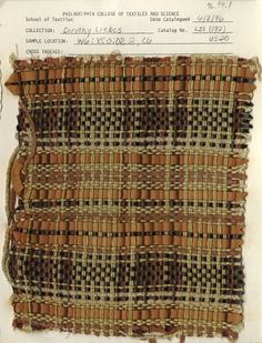 Woven swatch (catalogued by American textile designer and weaver Dorothy Liebes via the Design Center at Philadelphia University Jacquard Fabric, Knitted Fabric, Collections Of Objects, Textile Texture, Weaving Textiles, Costume Collection, Surface Design, Textile Design, Swatch