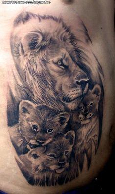 Lioness And Cub Tattoo, Lion Cub Tattoo, Cubs Tattoo, Lion Head Tattoos, Mens Lion Tattoo, Lion Tattoo Design, Tiger Tattoo Sleeve, Lion Tattoo Sleeves, Best Sleeve Tattoos