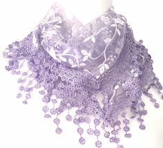 Purple floral vintage lace style triangle scarf with a little sprinkle of glitter and a tassel trim The scarf measures approx 65 inch 162 cm in Sprinkle Of Glitter, Vintage Lace, Vintage Style, Purple Scarves, Triangle Scarf, Lace Scarf, Summer Scarves, Lilac, Lavender