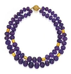 18 KARAT GOLD AND AMETHYST NECKLACE, BULGARI - Sold at Sothebys New York in February 2013 for $16,250 USD