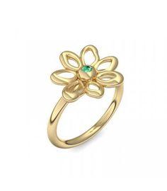 Blumenring Ring Blume Blumig Gold Smaragd (Gelbgold 585) - Blumen - Say it with flowers Amoonic