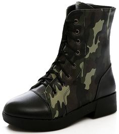 Summerwhisper Women's Trendy Boyfriend Style Camouflage Print Booties Round Toe Lace-up Block Low Heel Short Boots > Want to know more, visit the site now : Western boots